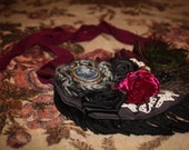 VICTORIAN peacock feather roses and CAMEO bib fringe necklace