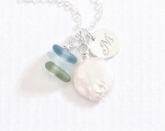 Personalized Sea Glass Necklace, Coin Pearl Seaglass Jewelry, Beach Glass Necklace, Silver Initial Sea Glass