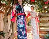 """The """"Haiku"""". One custom made Haiku robe in cotton trimmed with satin. Bohemian kimono robe. Long womens robe Lined for modesty With pockets"""