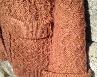 Cinnamon Rust Vintage Textured Knit Cardigan Sweater Shawl Collar