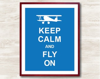 Keep Calm and Fly On - Instant Download, Personalized Gift, Inspirational Quote, Keep Calm Poster, Animal Art Print, Kitchen Decor