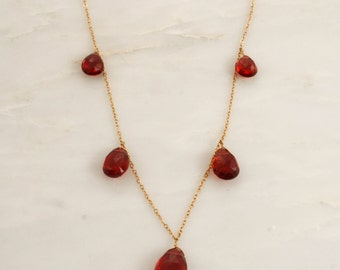 Pear Drop Garnet Necklace in 14K Gold