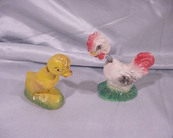 Chicken and Rooster Figurines Bobble Heads! Plaster Vintage Fun!