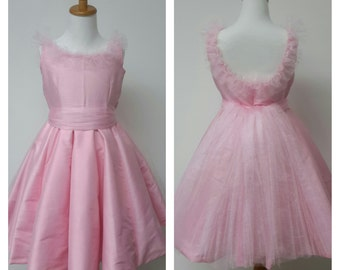 Flower Girl Dress with tulle Sash, Low Back, and Sleeveless. Petticoat. Girls Dress for Weddings, Birthday Party