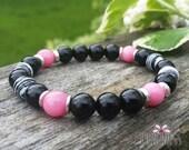 Invoke your Passion, Black Agate Onyx, Rhodochrosite & Zebra Rock Gemstone Mala Bracelet, Yoga Jewelry, Healing Reiki Energy, Lower Chakras