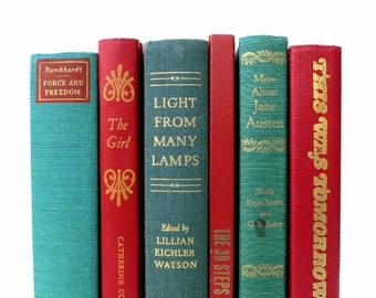 Green and Red Vintage Book Decor / Instant Library / Book Bundle / Book Collection / Book Decor / Home Decor / Vintage Books/Holiday Decor
