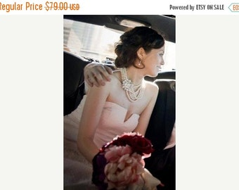 SALE - Mia - Bridal Necklace, Wedding Jewelry, Multi Strand Pearl Necklace - Chunky Bold pearl Necklace, Statement Necklace