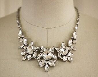SALE - Bold Crystal Necklace - Wedding Jewelry - Bridal Necklace - Crystal Statement Bib Necklace, Bridal Jewelry - Fenna