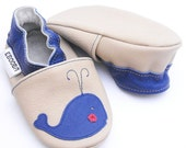 soft sole baby shoes infant handmade whale blue  beige 18 24 m ebooba 804-4