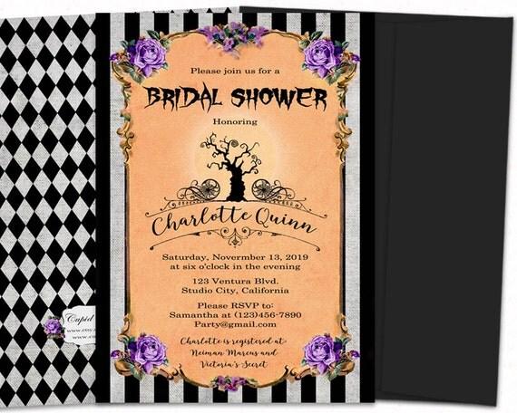 nightmare before christmas bridal shower invitation halloween