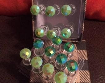 Green gem push pin thumb tacks and storage box