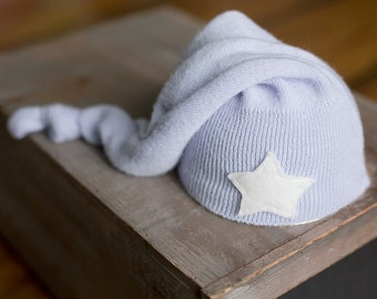 Upcycled Newborn Star Hat Periwinkle Stocking Cap with Star Sleepy Time Elf Hat READY TO SHIP Photography Prop Newborn Boy Hat Newborn Photo