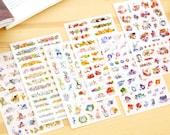 Cat Flower Deco Sticker Set - Korean Sticker - Diary Sticker - FiloFax - PVC - 6 sheets in