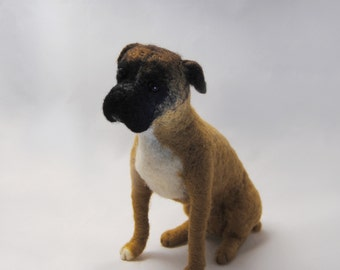 Needle Felted Boxer, Custom Made Pet Portrait, Needle Felted Dog, Boxer or any other breed, Handmade Animal - made to order