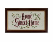 Vintage Cross Stitch Wall Art Home Sweet Home Embroidery Embroidered Framed Wall Hanging Wine Maroon Pink Dusty Rose Oatmeal Thread