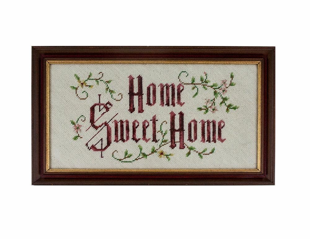 Wall Decor Cross Stitch : Vintage cross stitch wall art home sweet embroidery