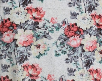 """Vintage Barkcloth Fabric, Pink Pastel Floral Reclaimed Curtain Material to Re Purpose, Shabby Chic Flower Pillow Bark Cloth Fabric 66""""x42"""""""
