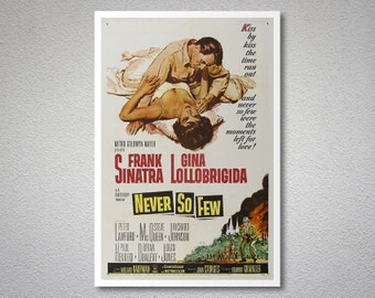 Never So Few, Frank Sinatra, Gina Lollobrigida Vintage Movie Poster - Poster Paper, Sticker and Canvas Print