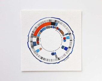 Gene No. 2, genetics, dna, biology, biology art, science, science art, dna art, science painting, watercolor, original science art, gift