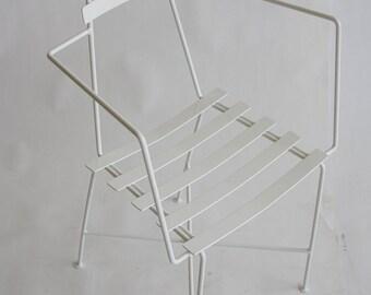 Single Mid-Century Slatted Wrought Iron Chair