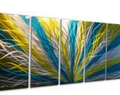 Metal Wall Art Aluminum Decor Abstract Contemporary Modern Sculpture Hanging Zen Textured - Radiance Blue Yellow 36x79