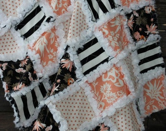 Modern chic, glamorous white, black apricot peach pink minky baby girl rag quilt with florals and graphic stripes