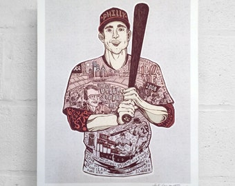 "FREE SHIPPING 11 x 14"" Paul Carpenter Art - Chase Utley Tribute with Harry Kalas - Sports Poster - Philladelphia Art Print"