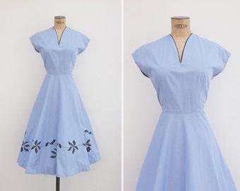 1950s Dress - Vintage 50s Powder Blue Floral Applique Dress - Julieta Dress