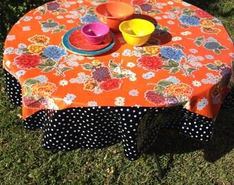 70 Oilcloth Tablecloth Round WHITE Polka On BLACK