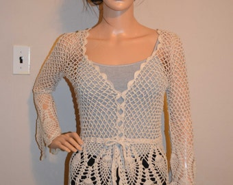 Rain Drops Custom Size Hand Cotton  Crocheted Sweater - Sizes 0 to 20