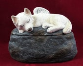 Ceramic Painted Dog Cremation Urn with Pointed Ears and Bushy Tail  -Pet hand made urn