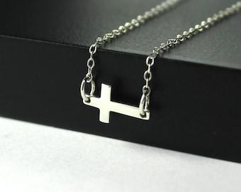 Kelly Ripa Sideways Cross Necklace in Sterling Silver - Tiny Cross Pendant - Horizontal Cross