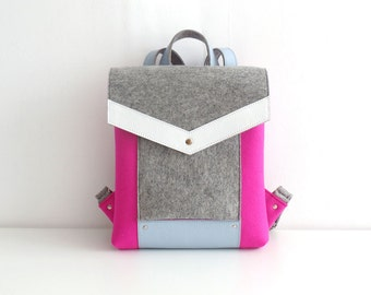 Pink Gray White Blue Felt Leather Backpack