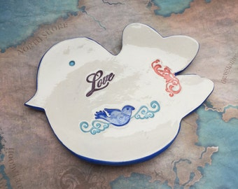 Spoon rest , Ring bowl , Ceramic spoon rest , Jewelry dish , Ceramic ring bowl , Ceramic bird dish , Bird dish , Bluebird , Love bird ,