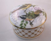 1970 Staffordshire Porcelain Trinket Jar, Avian Motif Transfer. Get Well Gift, Graduation Gift, Housewarming Gift, Thank You Gift