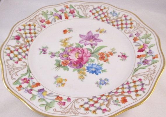 German Wedding Gifts: German Luncheon Plate Floral Motif Gold Trim. Housewarming