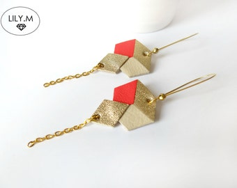 Earrings, Geometric Leather, Poppy and golden TARA