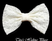 Ivory  Lace Hair Bow/ Girls Hair bow/ Big Bow/ Retro Bow/ Prom- Wedding Dress Bow/ Kawaii Bow/ Girls Bow/ Baby Bows/ Handmade Ivory Lace Bow