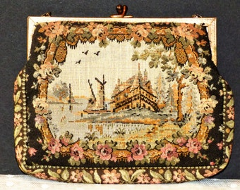 Vintage Tapestry Clutch Purse Made In France
