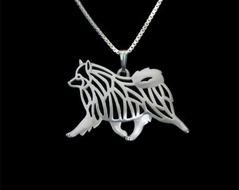 Keeshond - sterling silver pendant and necklace