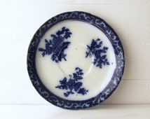 Touraine Flow Blue Saucer. 19th C. Flow Blue Saucer With Gold Luster. Stanley Pottery. Henry Alcock.