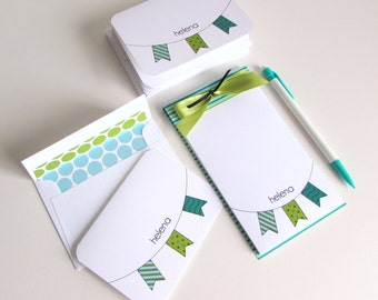 Personal Name Stationery Set Personalize Notepad Custom Stationery Note Pad Personalize Notebook Custom Writing Paper Personalize Paper Gift