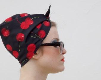 Black Cherries Vintage Style Headscarf