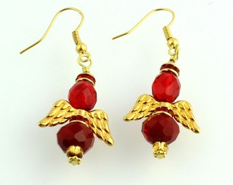 Red and Gold Color Beaded Crystal Angel Earrings, Christmas Jewelry, Holiday Earrings, Gifts, Fashion Accessories