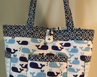 Whale Baby Diaper Bag, Blue, Baby Boy