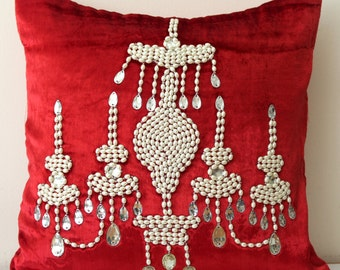 Red Velvet Pillow Cover Beaded Pillow Cover Pearl Throw Pillow Luxurious Pillow Chandelier Pillow Decorative Pillow Cover 16x16 Inches