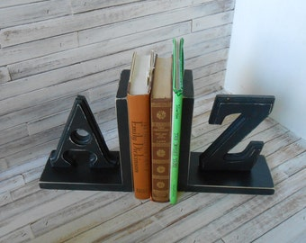 Wood Bookends - A/Z Bookends -Black Bookends -Handmade Bookends - Nursery Bookends - Farmhouse /Cottage/Rustic Bookends -Painted Bookends