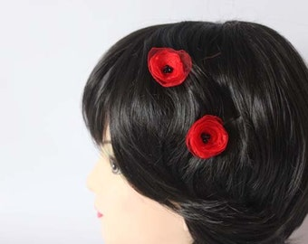 Fabric flower bobby pins, set of 2, fabric poppies, red flowers, hair accessories