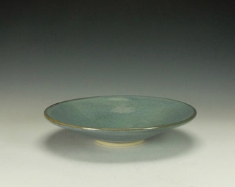 Stoneware Pottery shallow bowl, speckled blue.  Ready to ship.
