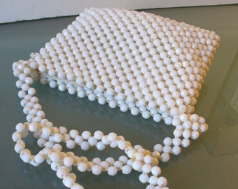 Made in Italy White Bag with Faceted Beads